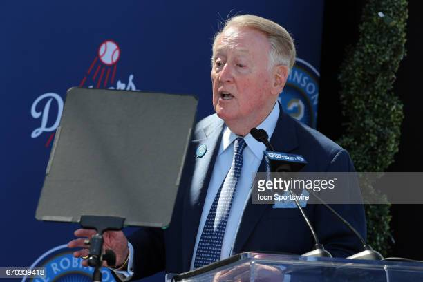 Announcer Vin Scully speaks during the Jackie Robinson trophy unveiling on Jackie Robinson Day at Dodger Stadium in Los Angeles CA