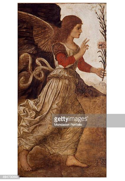 Announcing Angel by Melozzo da Forlì 14661470 15th Century oil on canvas 116 x 60 cm Italy Tuscany Florence Uffizi Gallery Whole artwork view An...