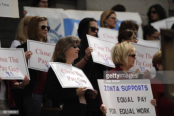 Annual Equal Pay Day Rally at the Capitol with pay equity advocates businesspeople and legislators on the west steps Tuesday April 12 to highlight...