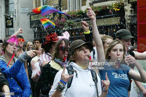 Annual Gay Pride march held in central London on June 30 2007 in London England