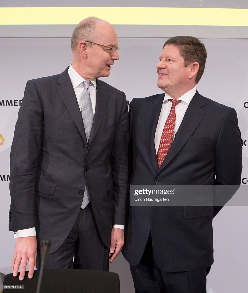Annual press conference of Commerzbank AG. Martin Blessing, Chief Executive Officer (CEO, left) and Stephan Engels, Chief Financel Officer (CFO) of Commerzbank AG, during the press conference.