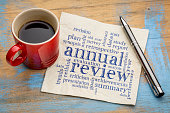 annual review word cloud - handwriting on a napkin with a cup of coffee