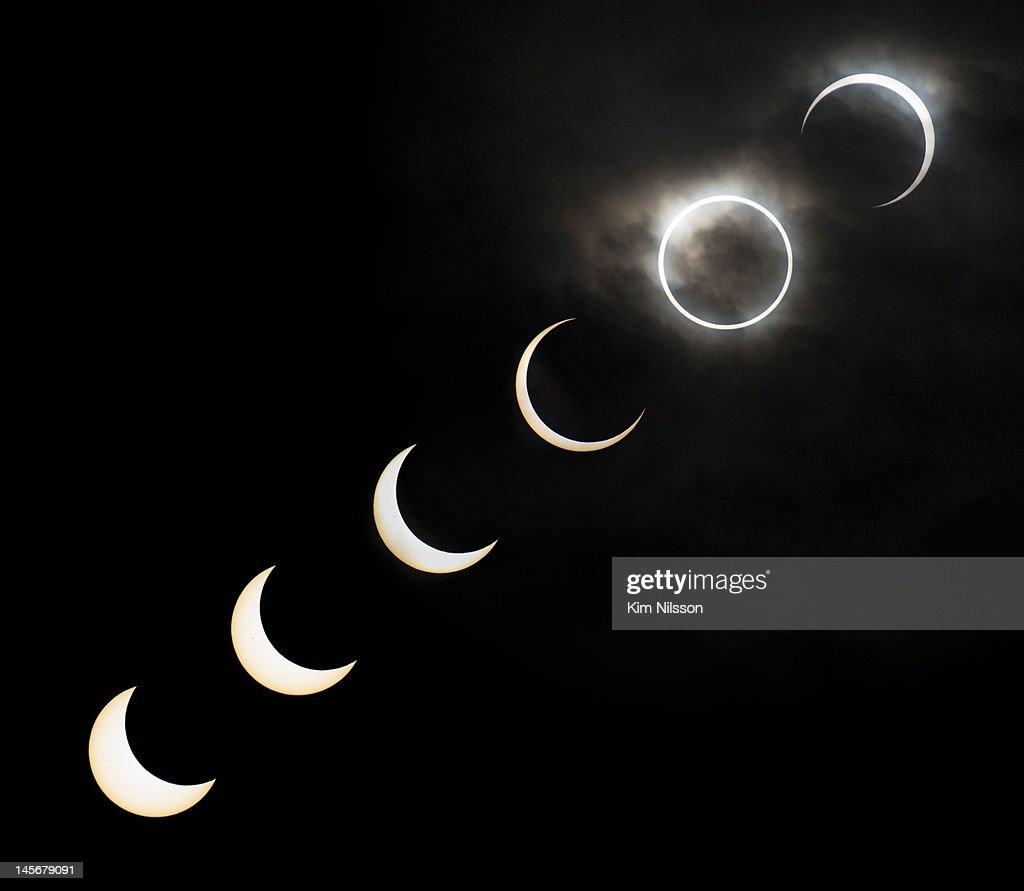 Annular solar eclipse sequence : Stock Photo