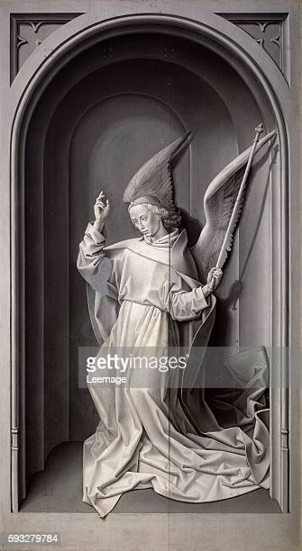 Annunciation angel External panel of the Portinari altarpiece Painting by Hugo van der Goes c1475 grisaille Florence Galleria degli Uffizi