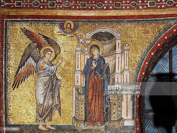 Annunciation detail of Coronation of the Virgin and Stories of Mary by Jacopo Torriti mosaic in the apsidal basin Basilica of Santa Maria Maggiore...