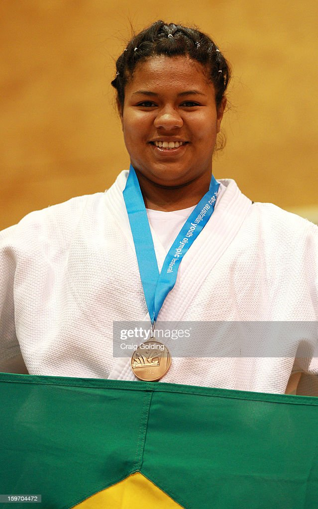 Anny Caroline Avelino Ribeiro of Brazil wins the Bronze medal in the cadet womens +63 kg division of the Judo event in the Sports Halls at Sydney Olympic Park Sports Centre on January 19, 2013 in Sydney, Australia.