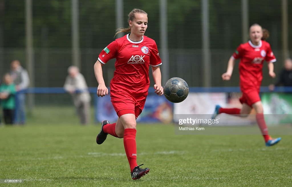Anny Hoernke of Potsdam runs with the ball during the U17 Girl's Bundesliga semi final first leg match between Turbine Potsdam and FSV Guetersloh...