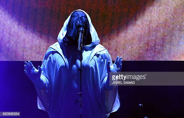 Anohni a transgender Britishborn US singer who was earlier known as Antony Hegarty performs on stage during a concert in New York on May 19 2016...