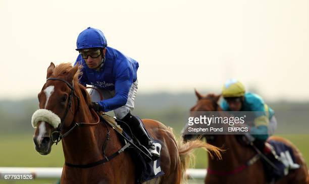Anomaly ridden by jockey Silvestre De Sousa wins the Chassis Cab DAF 30th Anniversary Maiden Stakes at Newmarket Racecourse