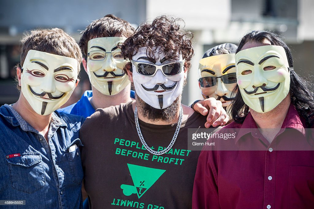 Anonymous activists meet in inner Brisbane wearing <a gi-track='captionPersonalityLinkClicked' href=/galleries/search?phrase=Guy+Fawkes&family=editorial&specificpeople=101029 ng-click='$event.stopPropagation()'>Guy Fawkes</a> masks, an item that has been banned during the G20 Summit, ahead of the Peoples' March on November 14, 2014 in Brisbane, Australia. The Peoples' March is expected to be one of the largest protests during the summit. World leaders have gathered in Brisbane for the annual G20 Summit and are expected to discuss economic growth, free trade and climate change as well as pressing issues including the situation in Ukraine and the Ebola crisis.