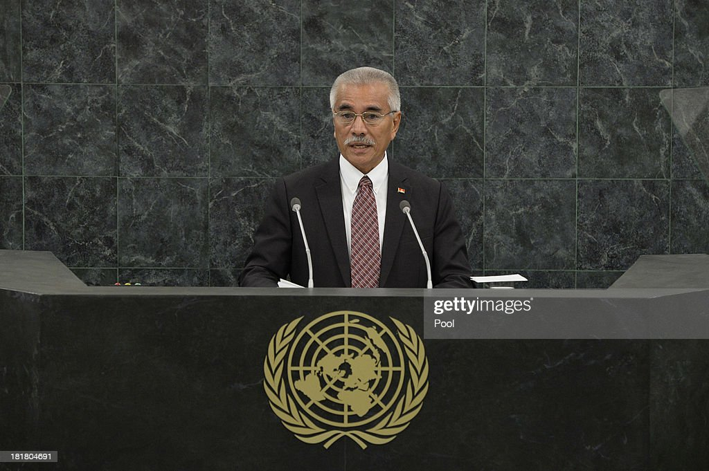<a gi-track='captionPersonalityLinkClicked' href=/galleries/search?phrase=Anote+Tong&family=editorial&specificpeople=626128 ng-click='$event.stopPropagation()'>Anote Tong</a>, President of the Republic of Kiribati, addresses the 68th session of the General Assembly at United Nations headquarters on September 25, 2013 in New York City. Over 120 prime ministers, presidents and monarchs are gathering this week for the annual meeting at the temporary General Assembly Hall at the U.N. headquarters while the General Assembly Building is closed for renovations.