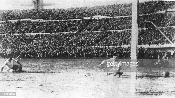 Another goal is scored for Uruguay during the final of the first World Cup competition between Argentina and Uruguay at Montevideo