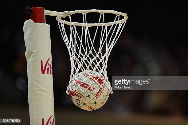 Another score during the second International Netball Series match between England and Australia at Copper Box Arena on January 22 2016 in London...