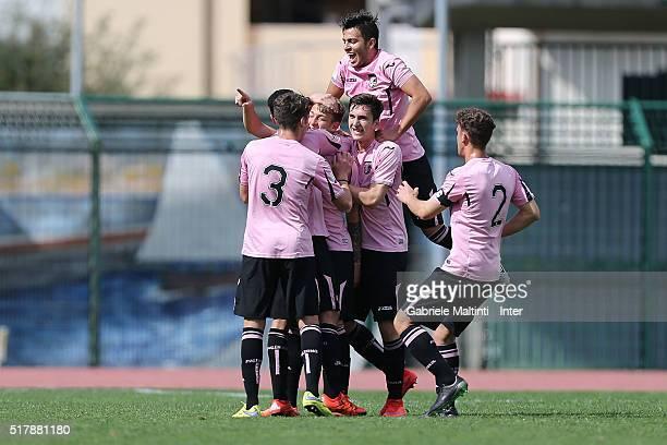 Anotonino La Gumina of US Citta di Palermo celebrates after scoring a goal during the Viareggio Juvenile Tournament match between FC Internazionale...