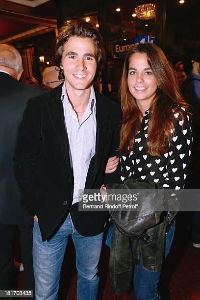 Anouchka Delon and companion Julien Dereins attend Muriel Robin show 'Robin revient 'Tsoin Tsoin'' Premiere at Porte SaintMartin Theater in Paris on...