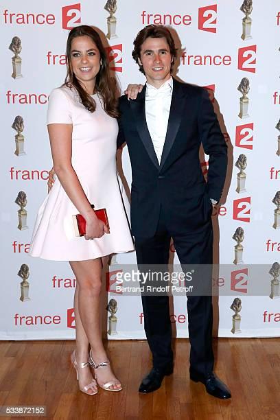 Anouchka Delon and her companion Nominated for 'Moliere de la Revelation masculine' for Libres sont les papillons Julien Dereims attend 'La 28eme...