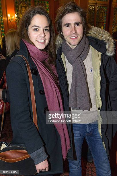 Anouchka Delon daughter of Alain Delon and her companion Julien Dereins attend the 200th performance of the play 'Inconnu A Cette Adresse' at Theatre...