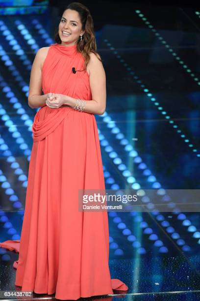 Anoucka Delon attends the third night of the 67th Sanremo Festival 2017 at Teatro Ariston on February 9 2017 in Sanremo Italy