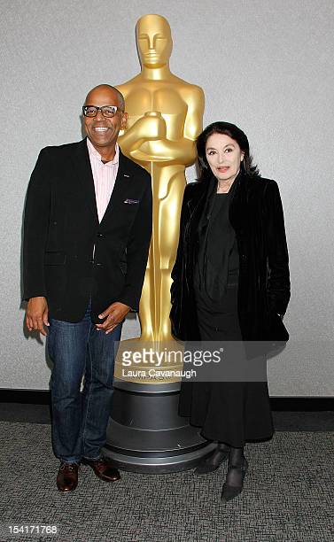 Anouk Aimee and Patrick Harrison attend The Academy of Motion Pictures screening of 'A Man And A Woman' at Lighthouse International Theater on...