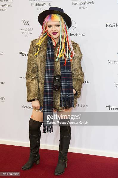 Anouk attends the Odeur show during the MercedesBenz Fashion Week Berlin Autumn/Winter 2015/16 at Brandenburg Gate on January 19 2015 in Berlin...