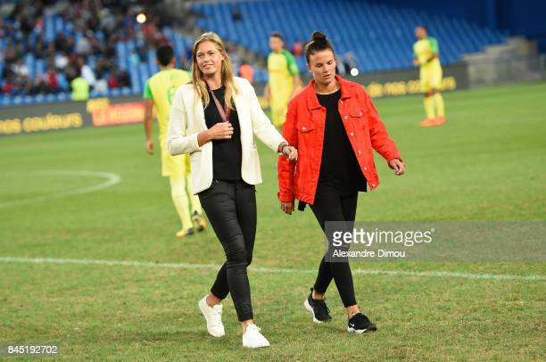 Anouk Dekker and Katrine Veje of Montpellier during the Ligue 1 match between Montpellier Herault SC and Nantes at Stade de la Mosson on September 9...