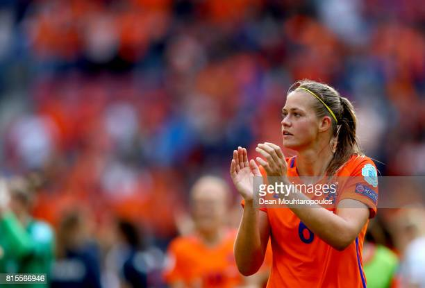 Anouk Dekker of the Netherlands acknowledges the crowd after victory in the Group A match between Netherlands and Norway during the UEFA Women's Euro...