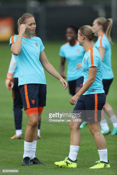 Anouk Dekker of the Netherlands and Mandy van den Berg of the Netherlands during the Netherlands Training session at SV De Lutte on August 5 2017 in...