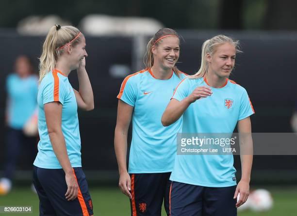 Anouk Dekker of the Netherlands smiles during the Netherlands Training session at SV De Lutte on August 5 2017 in Enschede Netherlands