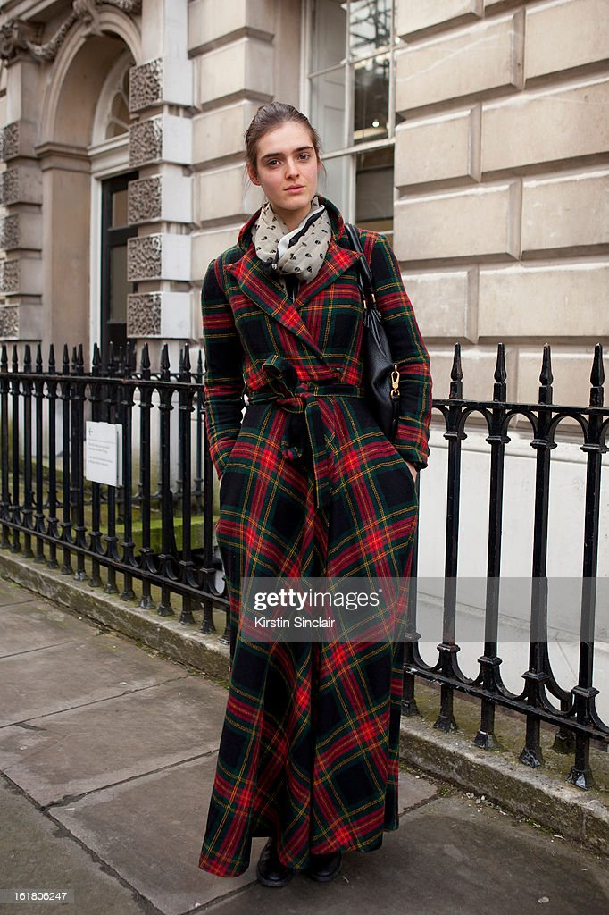 Anouk Hagemeijer model wearing a vintage 70s Jacket, Fratelli Rossetti shoes, Marc Jacobs bag, scarf present from a friend on day 1 of London Womens Fashion Week Autumn/Winter 2013 on February 15, 2013 in London, England.