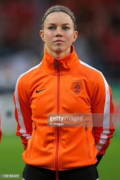 Anouk Hoogendijk of the Netherlands during the UEFA Women's EURO 2013 qualifying match between the Netherlands and Serbia at the TATASteel stadium on...