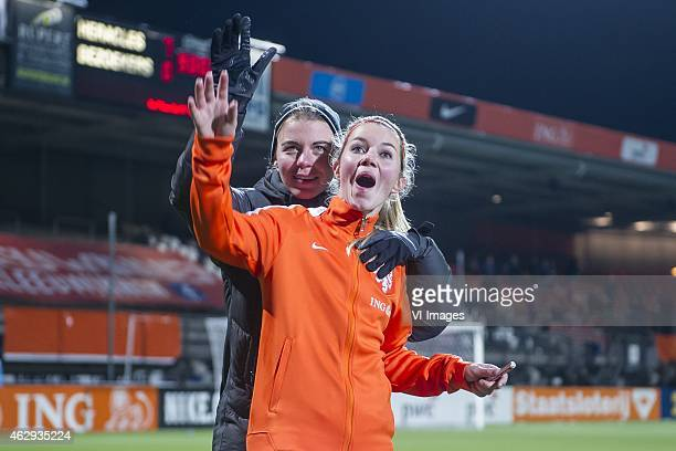 Anouk Hoogendijk of the Netherlands wave at supporters during the friendly match between Netherlands women and Thailand women on February 7 2015 at...