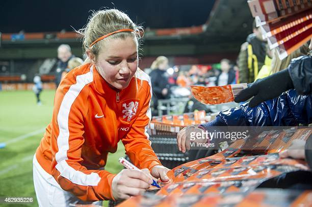 Anouk Hoogendijk of the Netherlands with supporters during the friendly match between Netherlands women and Thailand women on February 7 2015 at the...