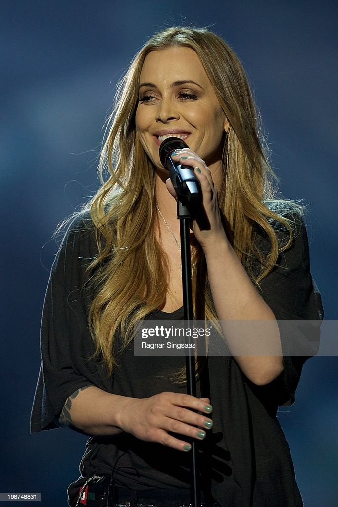 Anouk of The Netherlands performs on stage during the first semi final of Eurovision Song Contest 2013 at Malmo Arena on May 14, 2013 in Malmo, Sweden.