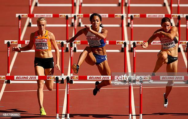 Anouk Vetter of the Netherlands Katarina JohnsonThompson of Great Britain and Claudia Rath of Germany compete in the Women's Heptathlon 100 metres...