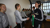 Anouschka Bernhard sporting guidance hands out the silver medals to the team of WFV Wuerttemberg during the ceremony of the U16 Girl's Federal Cup at...