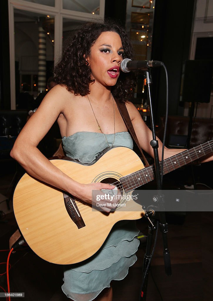 Anoushka Lucas performs as guests shows armed forces support at the 'Give Us Time' fundraiser held at Corinthia Hotel London on November 14, 2012 in London, England.