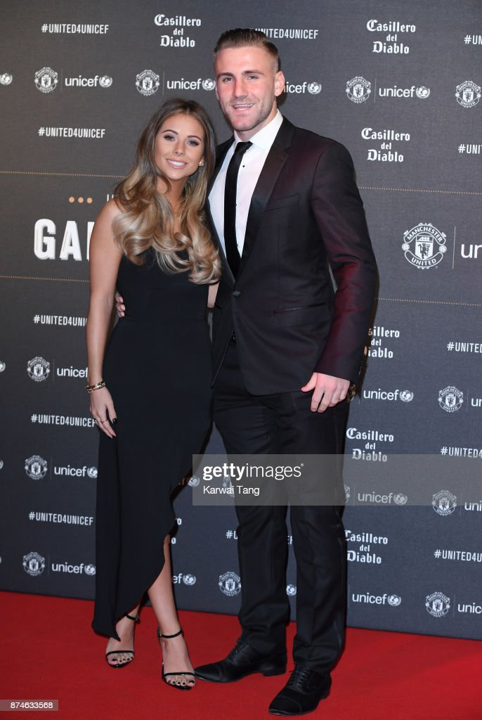 Anouska Santos and Luke Shaw attend the United for Unicef Gala Dinner at Old Trafford on November 15, 2017 in Manchester, England.