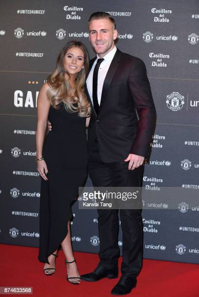 Anouska Santos and Luke Shaw attend the United for Unicef Gala Dinner at Old Trafford on November 15 2017 in Manchester England