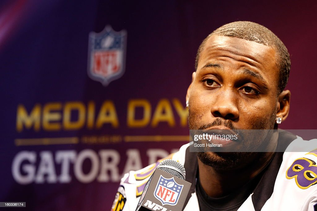 Anquan Boldin #81 of the Baltimore Ravens answers questions from the media during Super Bowl XLVII Media Day ahead of Super Bowl XLVII at the Mercedes-Benz Superdome on January 29, 2013 in New Orleans, Louisiana. The San Francisco 49ers will take on the Baltimore Ravens on February 3, 2013 at the Mercedes-Benz Superdome.