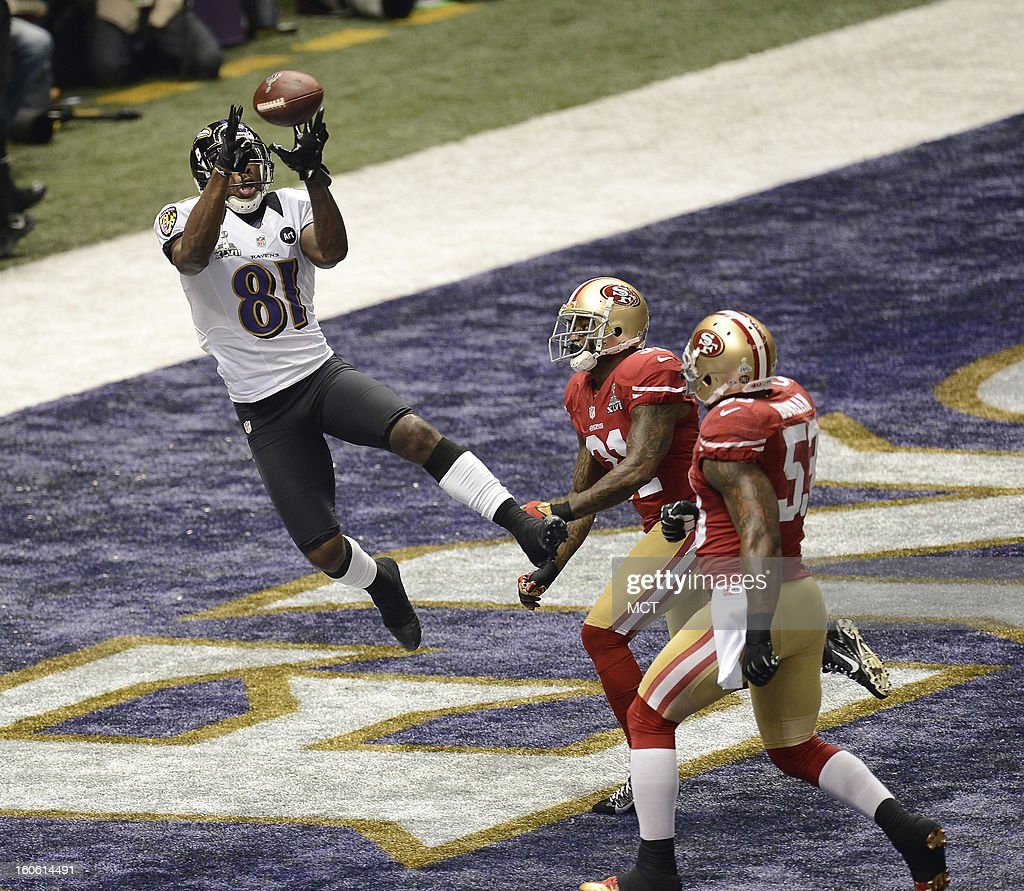 Anquan Boldin (81) of the Baltimore Ravens catches a touchdown pass against the San Francisco 49ers during first-half action in Super Bowl XLVII at the Mercedes-Benz Superdome in New Orleans, Louisiana, Sunday, February 3, 2013.