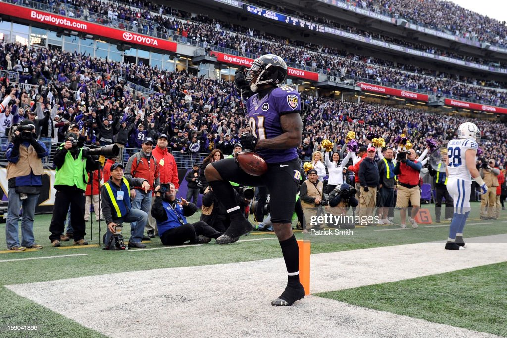 <a gi-track='captionPersonalityLinkClicked' href=/galleries/search?phrase=Anquan+Boldin&family=editorial&specificpeople=182484 ng-click='$event.stopPropagation()'>Anquan Boldin</a> #81 of the Baltimore Ravens celebrates after he scored an 18-yard touchdown reception in the fourth quarter against the Indianapolis Colts during the AFC Wild Card Playoff Game at M&T Bank Stadium on January 6, 2013 in Baltimore, Maryland.