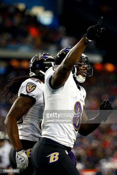 Anquan Boldin of the Baltimore Ravens celebrates with his teammates scoring his second touchdown pass by Joe Flacco in the fourth quarter against the...