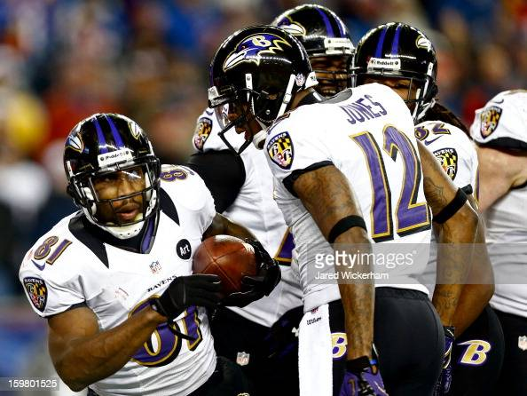 Anquan Boldin of the Baltimore Ravens celebrates with teammate Jacoby Jones after scoring a touchdown passed by Joe Flacco in the fourth quarter...