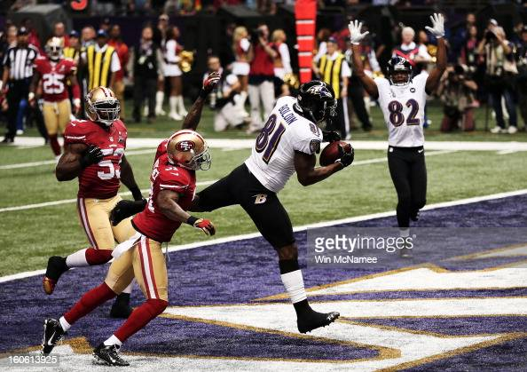 Anquan Boldin of the Baltimore Ravens makes a 13yard touchdown reception in the first quarter from Joe Flacco against Donte Whitner of the San...