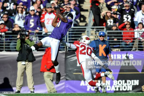 Anquan Boldin of the Baltimore Ravens makes a catch against AJ Jefferson the Arizona Cardinals at MT Bank Stadium on October 30 2011 in Baltimore...