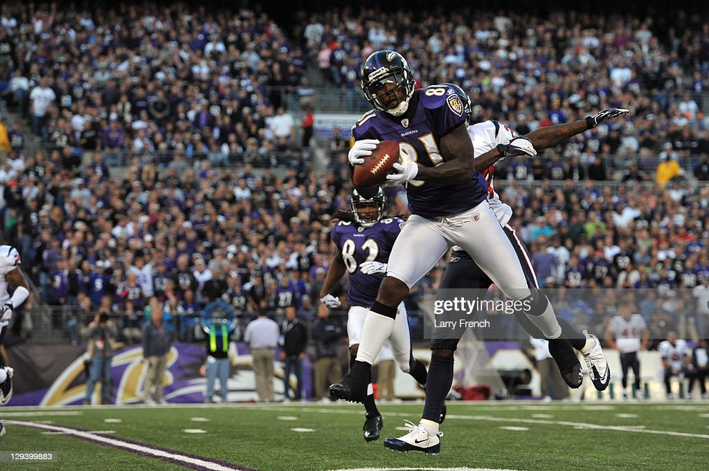 Anquan Boldin #81 of the Baltimore Ravens makes a catch against the Houston Texans at M&T Bank Stadium on October 16. 2011 in Baltimore, Maryland. The Ravens defeated the Texans 29-14.