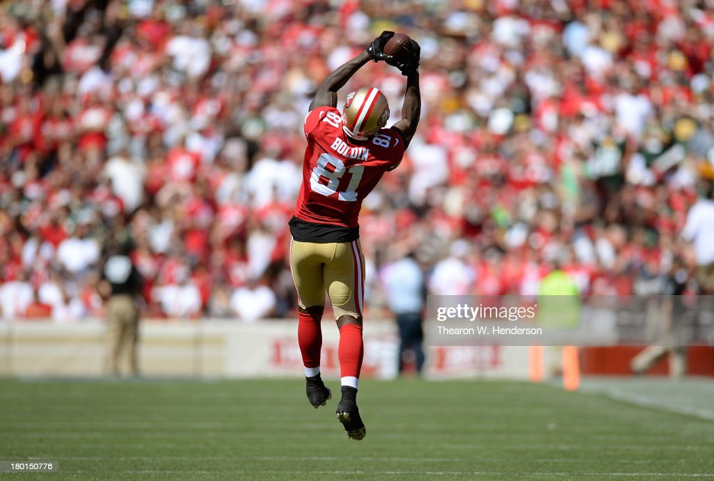 Anquan Boldin #81 of the San Francisco 49ers catches a pass against the Green Bay Packers during the fourth quarter at Candlestick Park on September 8, 2013 in San Francisco, California.