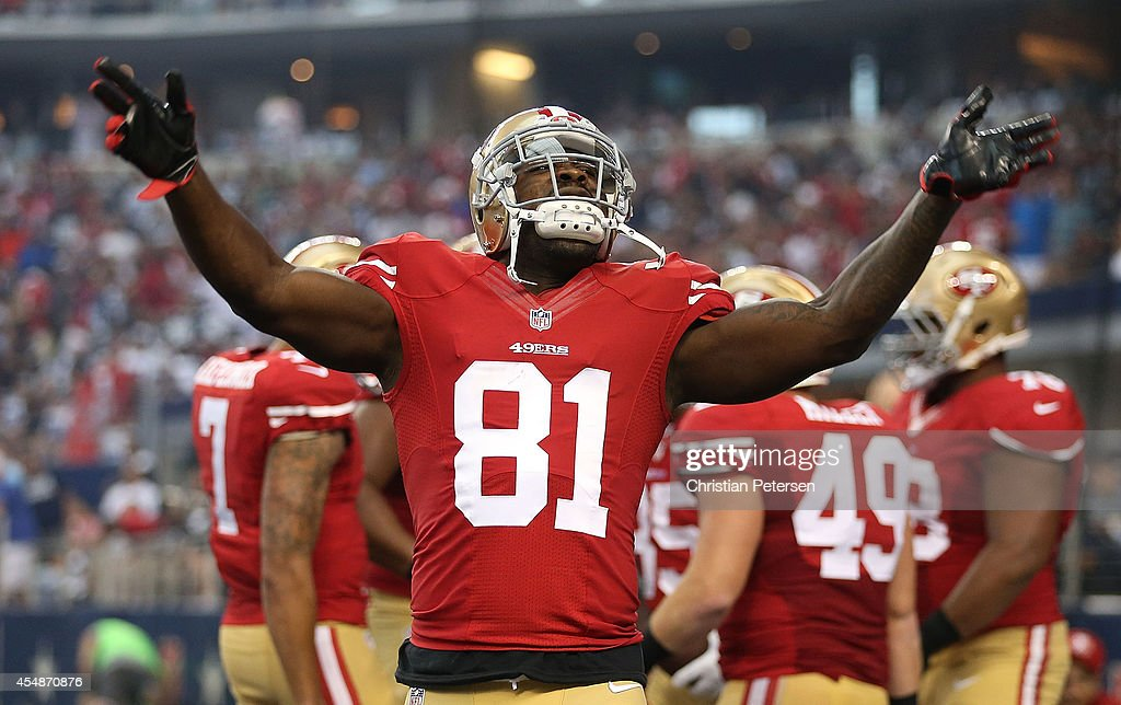 <a gi-track='captionPersonalityLinkClicked' href=/galleries/search?phrase=Anquan+Boldin&family=editorial&specificpeople=182484 ng-click='$event.stopPropagation()'>Anquan Boldin</a> #81 of the San Francisco 49ers celebrates after the San Francisco 49ers scored against the Dallas Cowboys in the first half at AT&T Stadium on September 7, 2014 in Arlington, Texas.