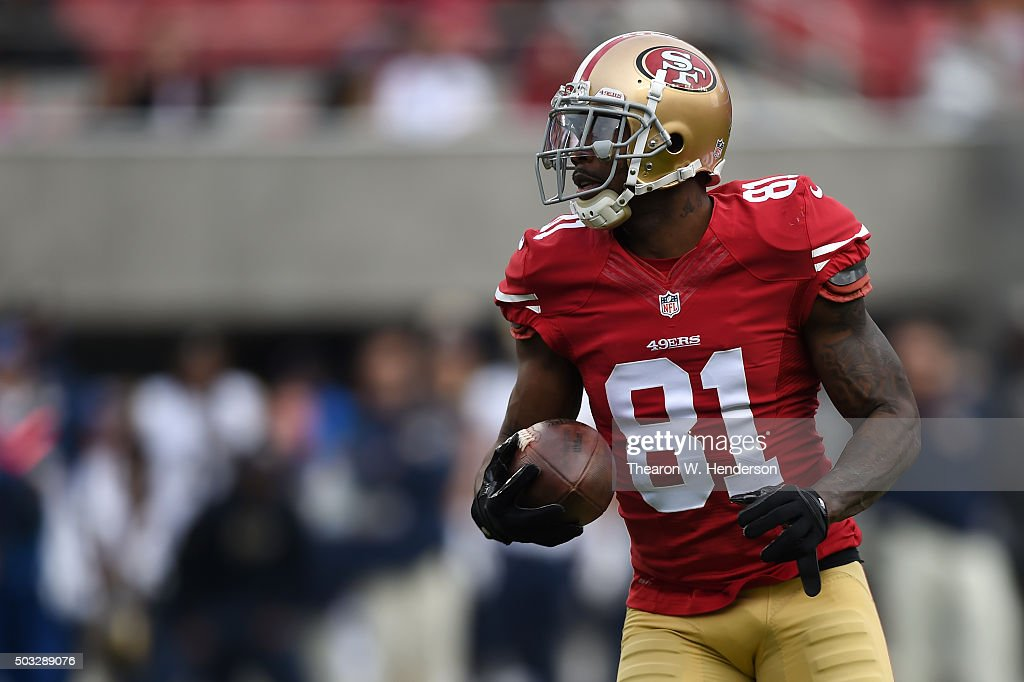 <a gi-track='captionPersonalityLinkClicked' href=/galleries/search?phrase=Anquan+Boldin&family=editorial&specificpeople=182484 ng-click='$event.stopPropagation()'>Anquan Boldin</a> #81 of the San Francisco 49ers jogs into the endzone on a 33-yard touchdown catch against the St. Louis Rams during their NFL game at Levi's Stadium on January 3, 2016 in Santa Clara, California.