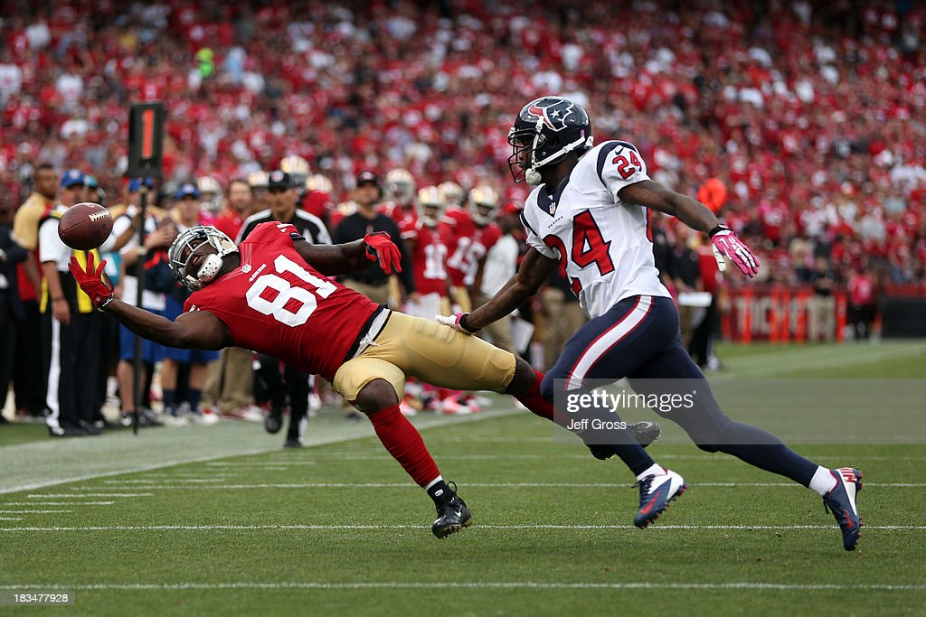 Anquan Boldin #81 of the San Francisco 49ers misses a pass in the first quarter against Johnathan Joseph #24 of the Houston Texans during their game at Candlestick Park on October 6, 2013 in San Francisco, California.